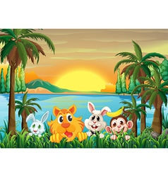 Animals at the riverbank with coconut trees vector image