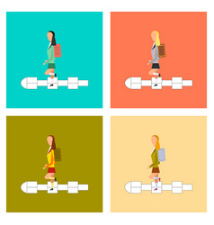 Assembly flat icons school girl hopscotch vector