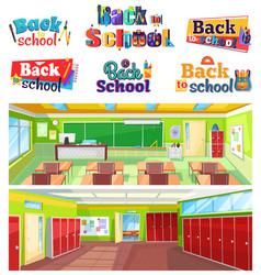 back to school logo design classroom interior vector image