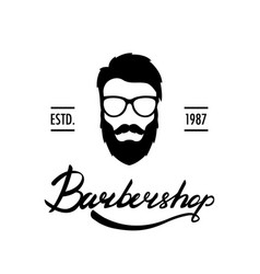 barber shop logo or label portrait of man with vector image