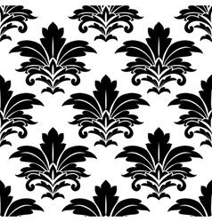 Black and white seamless damask pattern vector image