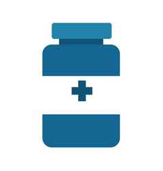 Blue medical pharmaceutical drugs treatment icon vector