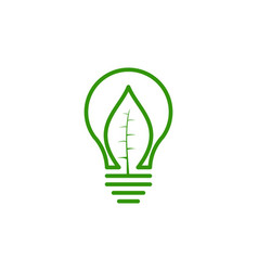 Bulb idea and green leaf logo design vector