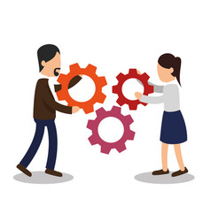 business people with gears training icon vector image