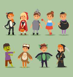 cartoon cute kids wearing halloween costumes vector image