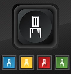 Chair icon symbol Set of five colorful stylish vector