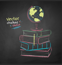 chalked books and globe vector image
