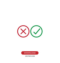 Checkmarks icon yes or no sign true or false vector