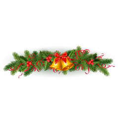 Christmas holly spruce tree garland vector