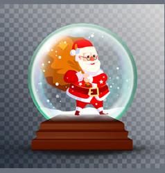 christmas snow globe realistic cute santa vector image