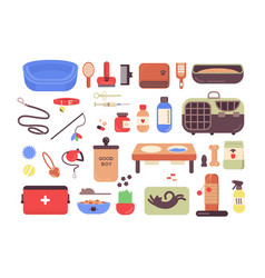 collection of pet shop goods for cats and dogs vector image