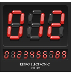 Collection retro electronic figures numbers vector