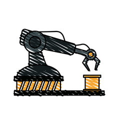 color crayon stripe cartoon industrial mechanical vector image