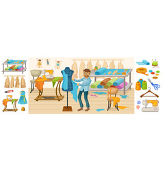 colorful tailoring elements composition vector image