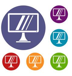 computer monitor icons set vector image