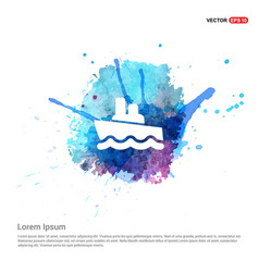 cruise icon - watercolor background vector image