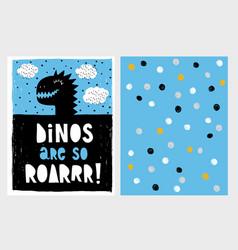 cute abstract black dinosaur vector image