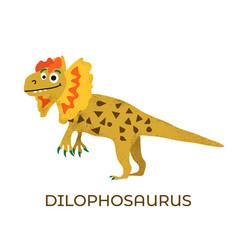 cute dinosaur dilophosaurus cartoon drawn for tee vector image