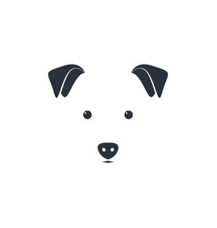 cute dog head on white background minimal iconic vector image