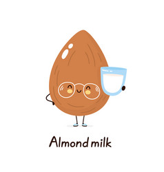 Cute happy smiling plant based almond milk vector