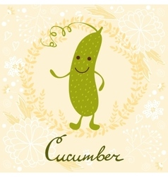 Cute sweet cucumber character vector