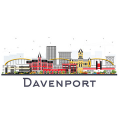 Davenport iowa skyline with color buildings vector
