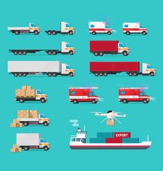 delivery transportation cargo vehicles set vector image