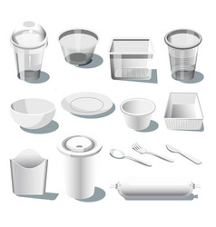 Disposable plastic dishware or tableware isolated vector