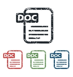 Doc file grunge icon set vector
