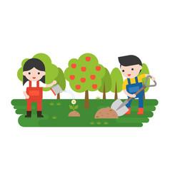 farmer or gardener planting flower in flat design vector image