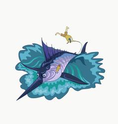 Fisherman caught marlin vector