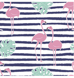 flamingo pink bird with monstera leaf seamless vector image