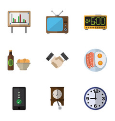 Flat icon life set of watch whiteboard cellphone vector