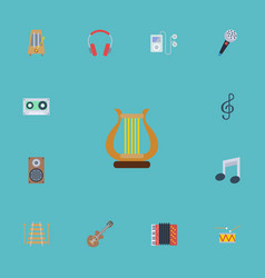 Flat icons musical instrument tone symbol audio vector