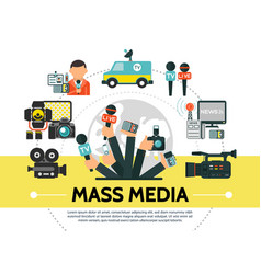 flat mass media concept vector image