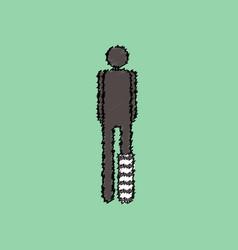 Flat shading style icon man with broken leg vector