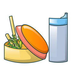food and water bottle icon cartoon style vector image
