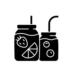 fruit-infused water bottle black glyph icon vector image