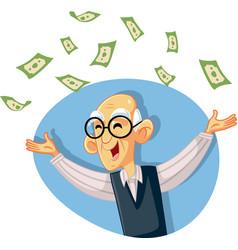 Funny retired senior man throwing money vector