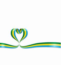 gabon flag heart-shaped ribbon vector image