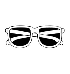 glasses icon in black dotted contour vector image