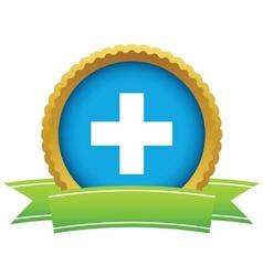 Gold plus logo vector image