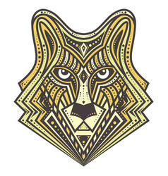 golden alfa wolf detailed vector image