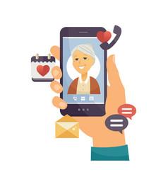 grandmother calling - modern cartoon vector image