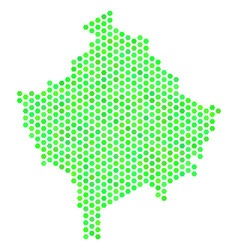 Green hex-tile kosovo map vector