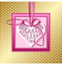 Greeting card with a lace heart on a satin ribbon vector
