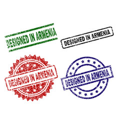 grunge textured designed in armenia seal stamps vector image
