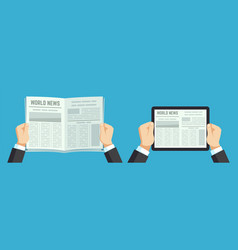 hands holding newspaper paper news info on vector image
