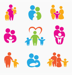 happy family icons symbols collection vector image vector image