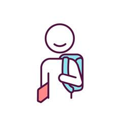 Happy school child rgb color icon vector